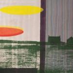 Shezad Dawood: Mên-an-Tol, 2013. Acrylic on vintage textile, 200 x 274 cm. Courtesy Paradise Row, London