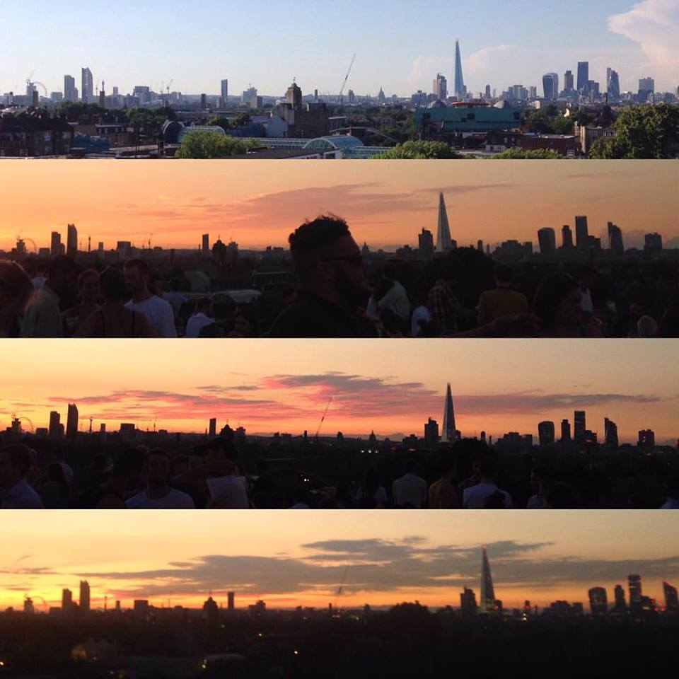 Sun setting over London cityscape - view from Frank's Rooftop bar