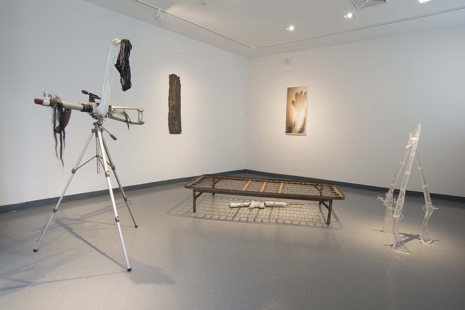 Installation view of In Medias Res, at Guttenberg Arts, 2015. (l to r) sex tape, exo sis, dream and lie, shadow study, half the story has never been told.