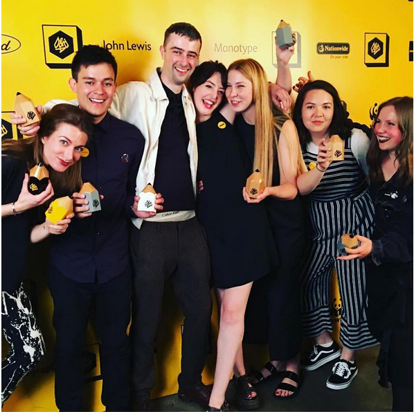 Chelsea's winners celebrate at the D&AD Awards ceremony