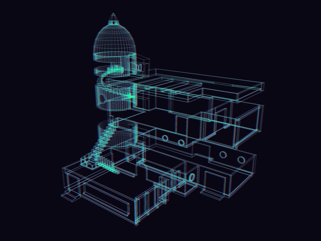 Wireframe version of studio