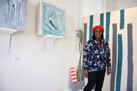Jheni with her work from the MA Show 2015