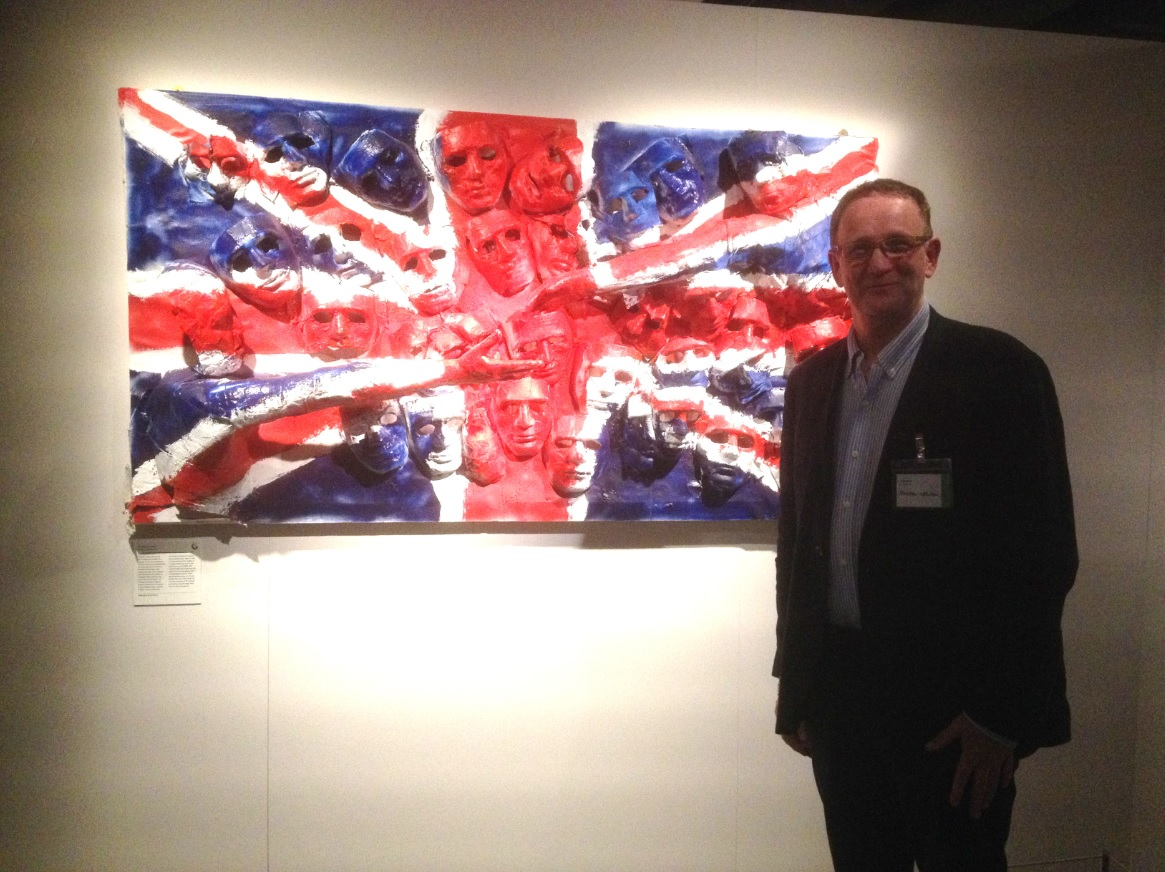 Michael Crossan next to his piece 'Brothers in Arms'