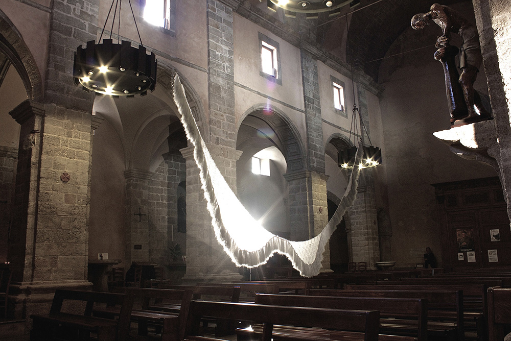Drapped Sculpture Hanging In Church By Valdone Porcheddu