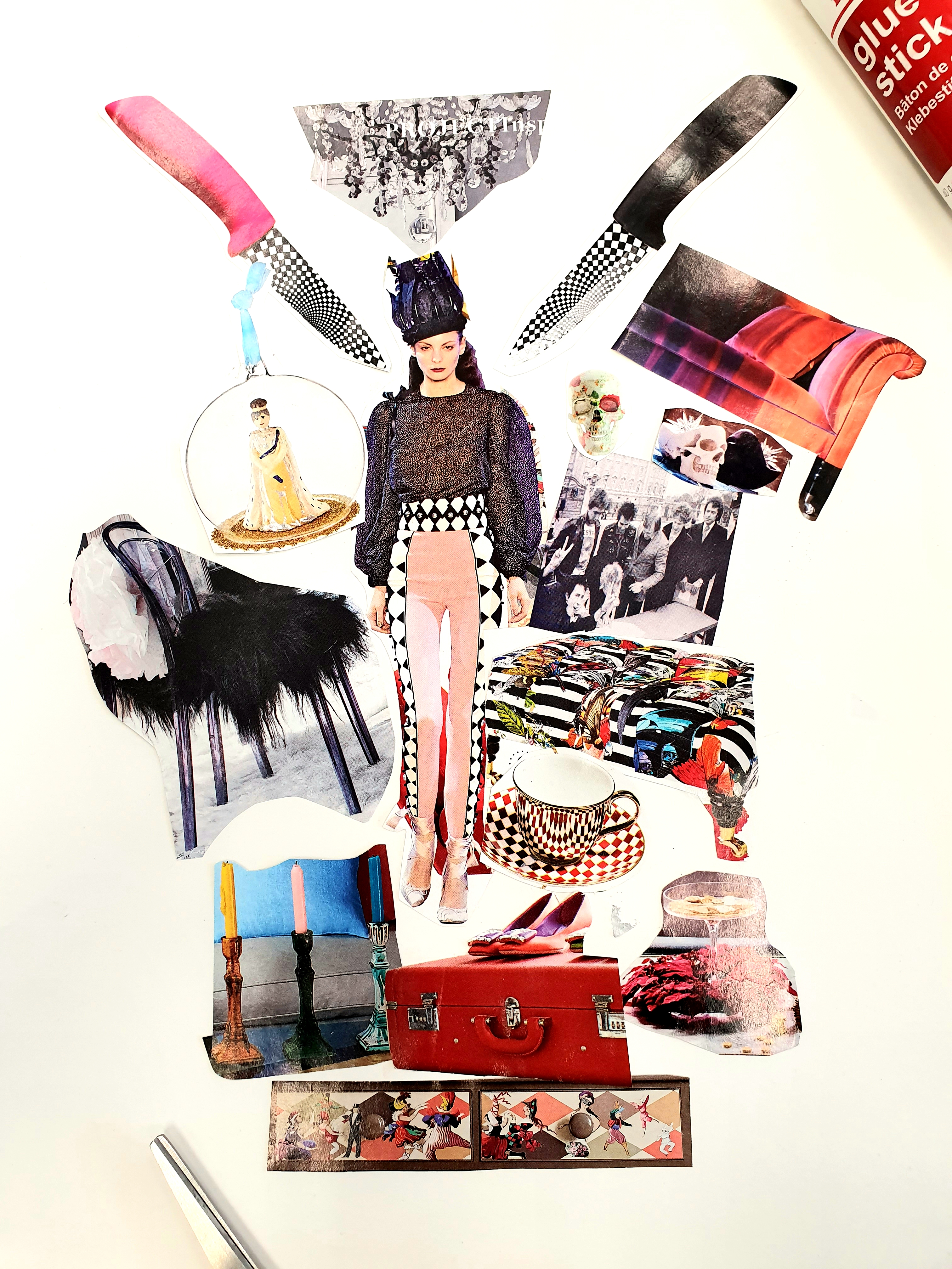 A portrait image of a mood board made of magazine cut outs with a model in the centre and luggage and different chairs surrounding the model.