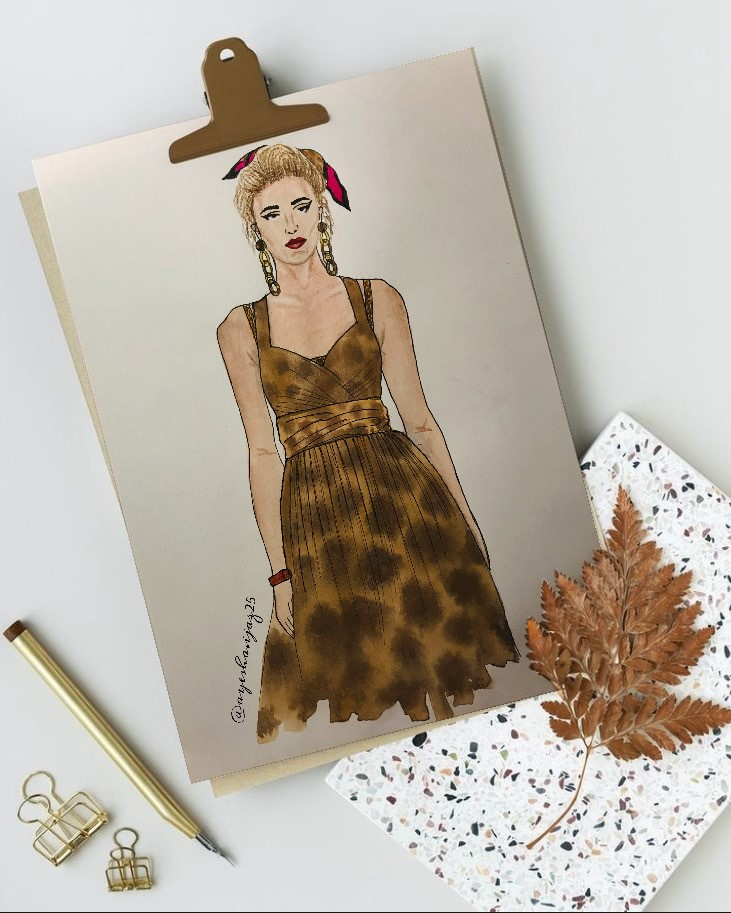 Illustration of woman in a leopard skin dress with a red tie in her hair.