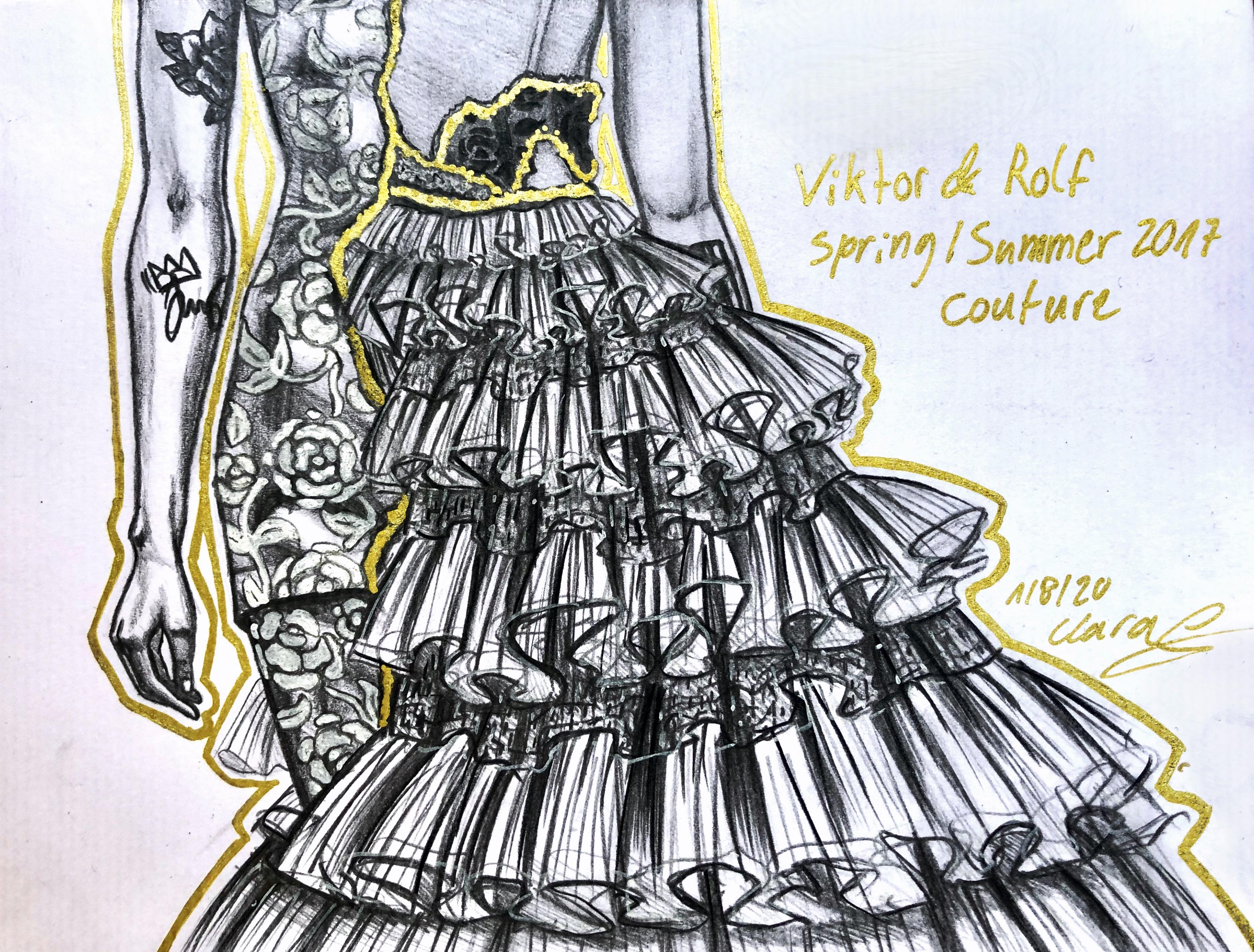 A sketch by Clara of a Viktor D Rolf gown done in black and white