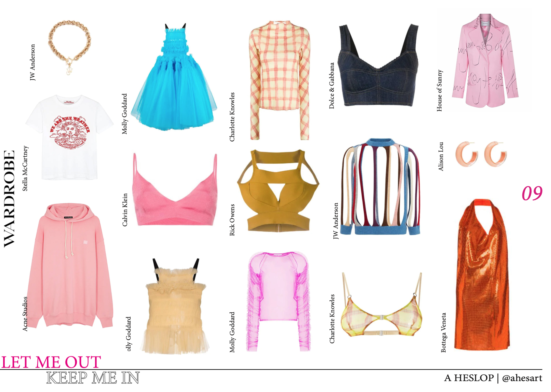 A collection of clothing inspirations Alisia used during her photoshoot