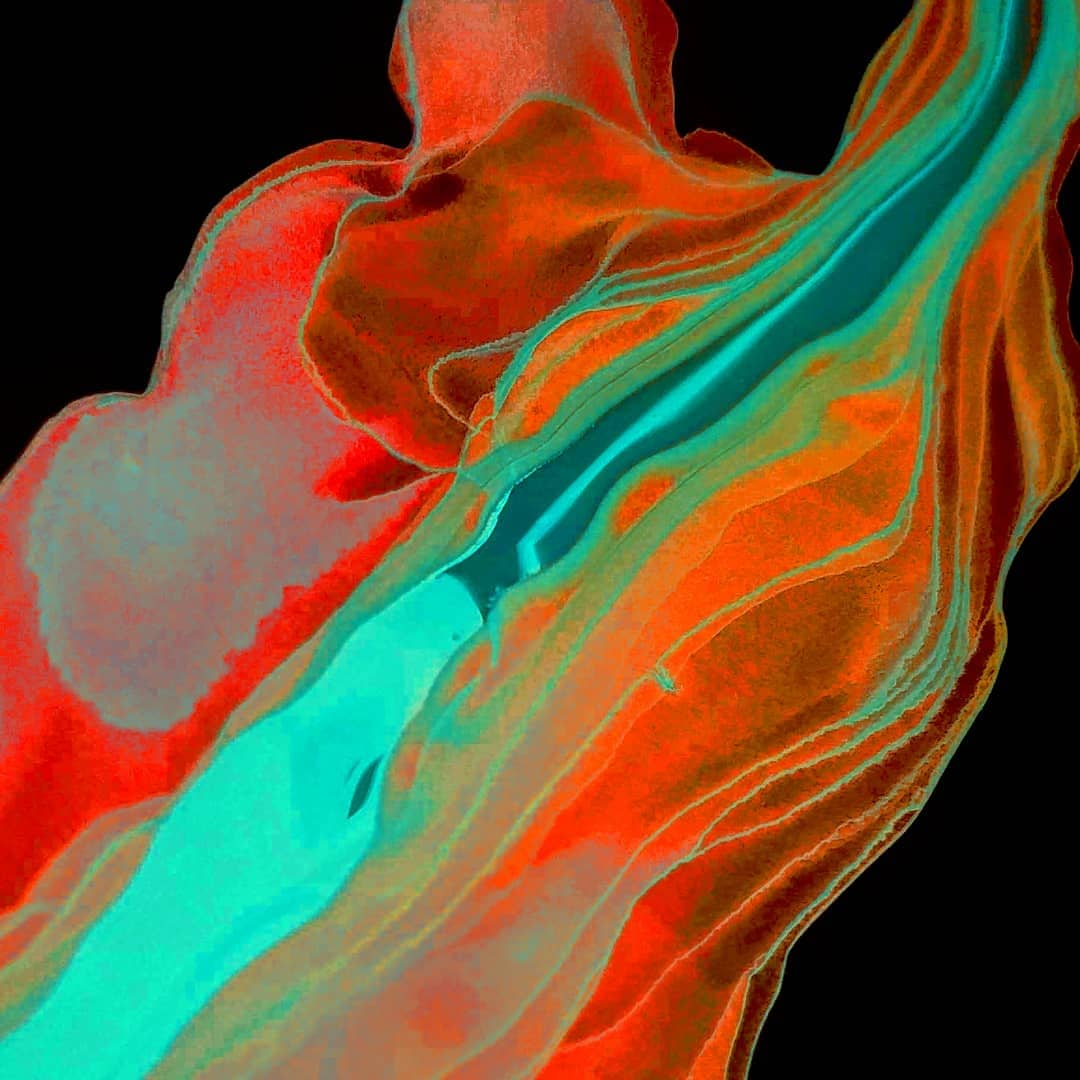 Work by Katie Herbst showing dark colours clashing together in a fluid like motion