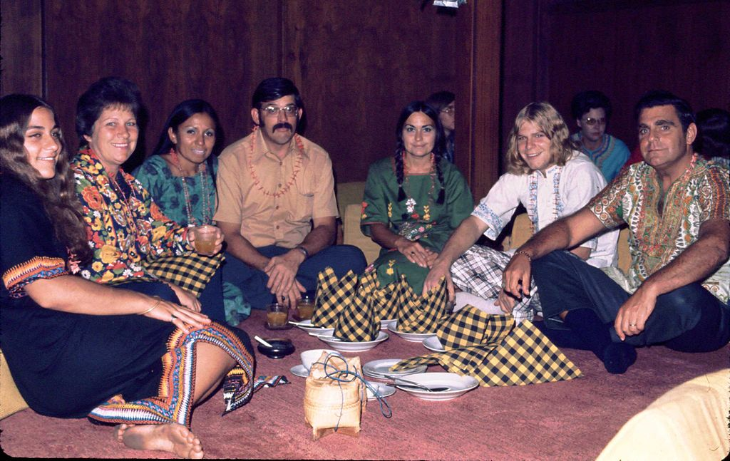 Hippies sitting around smoking cannabis in Chiang Mai, Thailand, November 1973. These are US tourists on extended vacation.