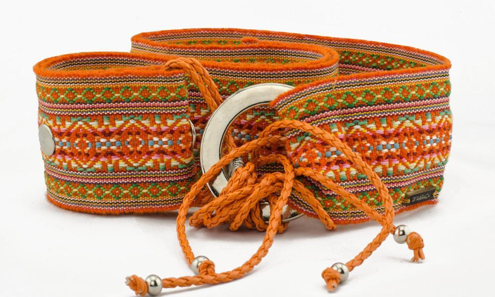 Image of an orange fabric belt sold by TAARACH®