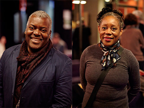 Paul Goodwin and Sonia Boyce at University of the Arts London in 2013.