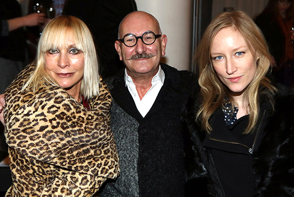 Tony Glenville with Virginia Bates and Jade Parfitt at the LCF MA catwalk show by Alex Maguire