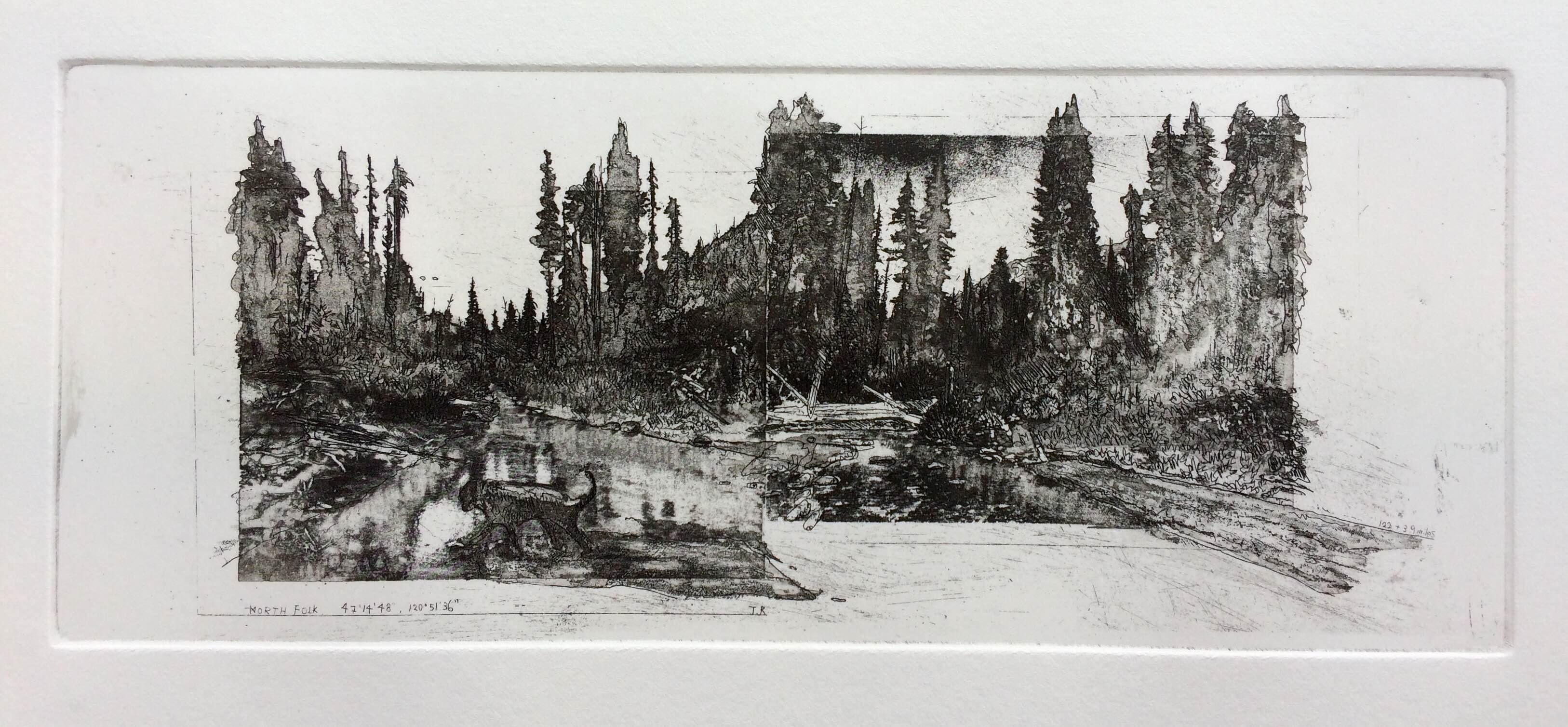 'Northfolk' Hardground, aquatint, sugar lift and photo etching. Image size 35.5x13.5cm