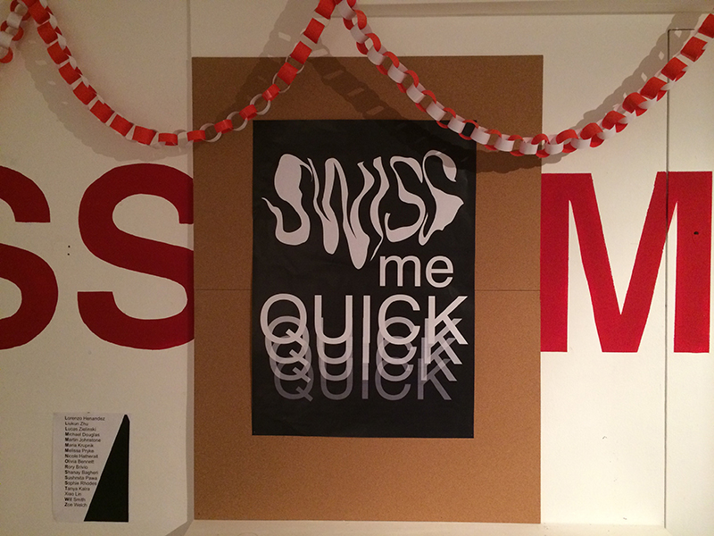 Wavy and Helvetica font Swiss Me Quick poster from BA Graphic Design Swissmas Christmas Party in 2014
