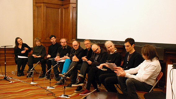 Image credit: Panel discussion, from left to right: Jananne Al-Ani, Betty Sacher, Giacomo Raffaelli, Duncan Wooldridge, Peter Geimer, Michael Doser, Daniel Rubinstein, Louisa Minkin, Bernd Behr, Sam Burford.