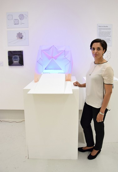 Nyla with her work from the MA Show 2015