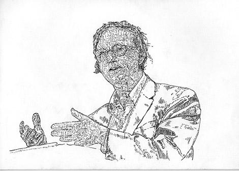 Portrait of Robert Storr by Camberwell BA Painting alumnus Joe Morris.
