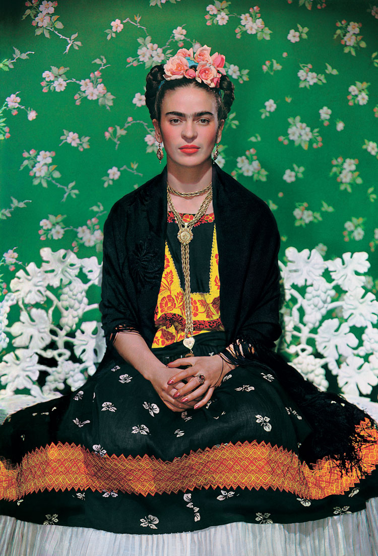 Frida Kahlo on a bench, carbon print, 1938, photo by Nickolas Muray -® The Jacques and Natasha Gelman Collection of 20th Century Mexican Art and The Verge,Nickolas Muray Photo Archives