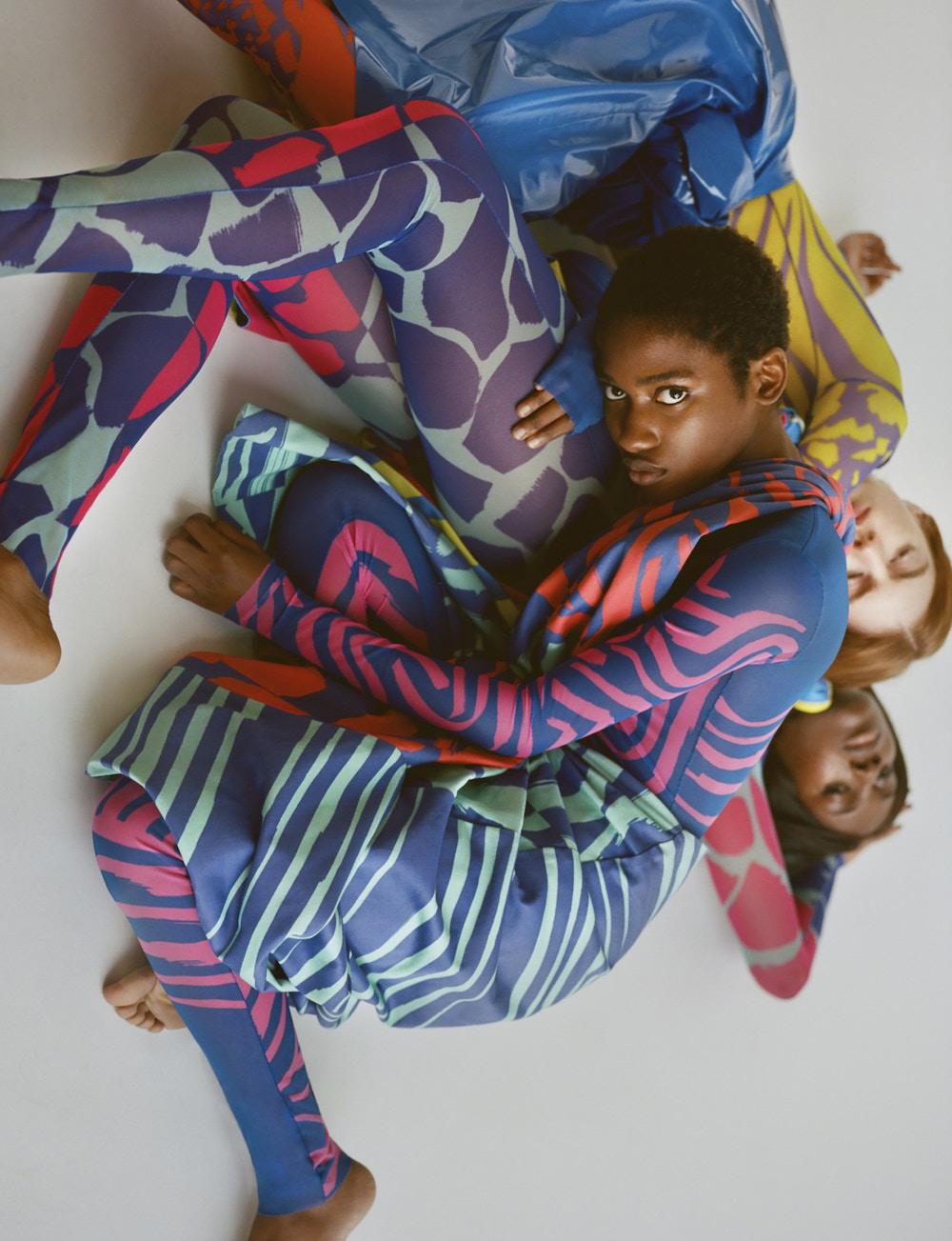 Models in printed clothing