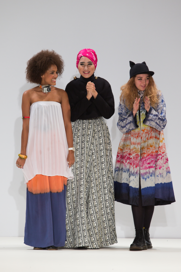 Dian Pelangi with Odette Steele and Nelly Rose at Fashion Scout. Photography by Simon Armstrong