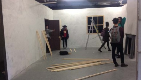 Amy Carlsson set design being installed for filming