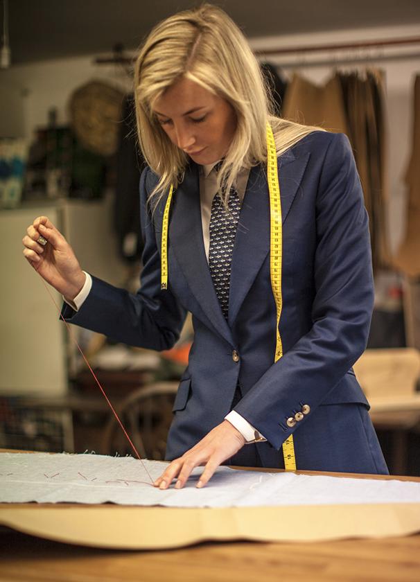 Photo of Caroline Andrew in her tailoring studio