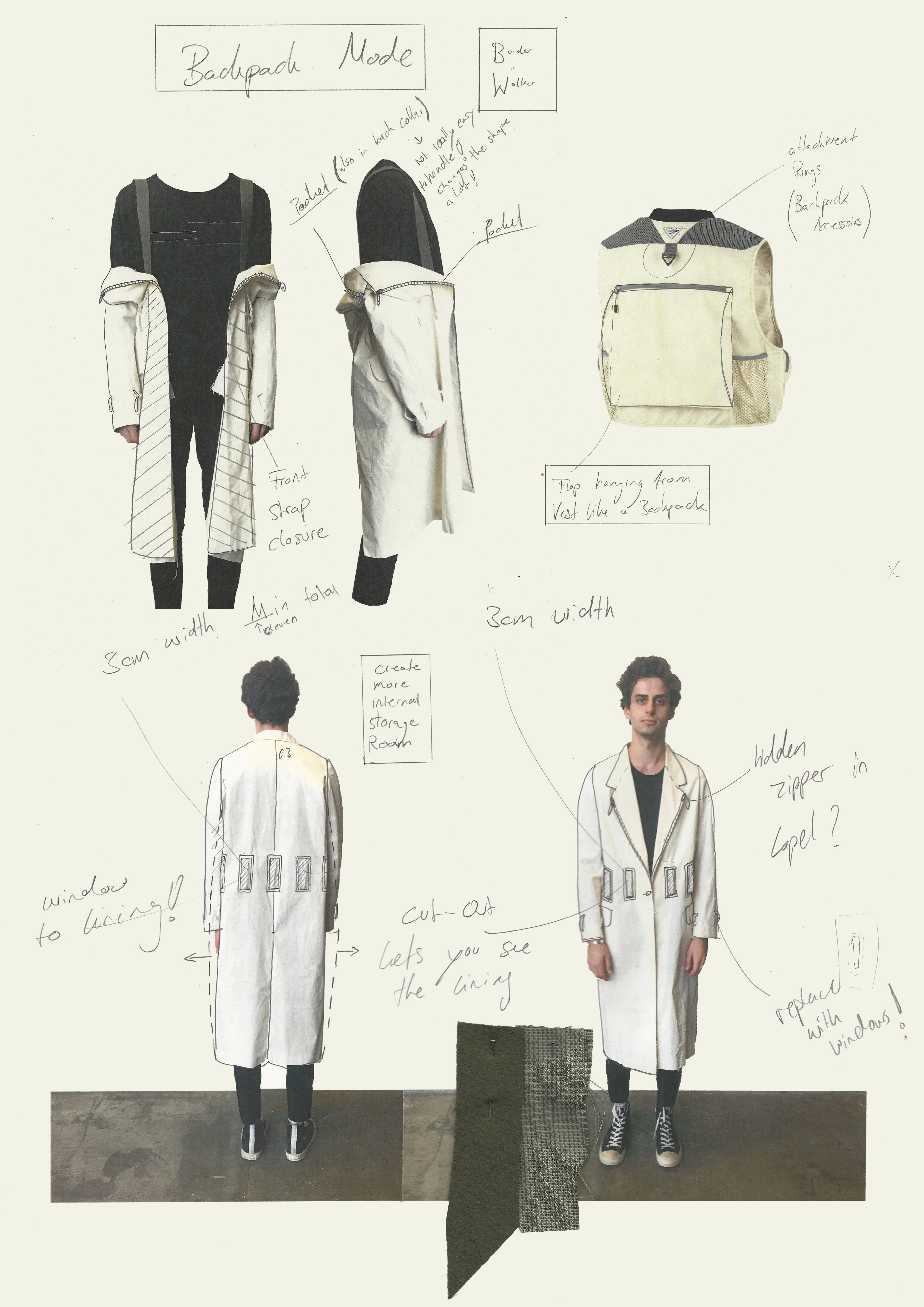 Sketches of student's design for jacket that can be worn with backpack attached