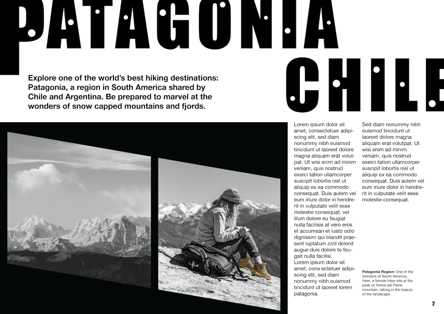An image of Tina Li's magazine spread about Patagonia Chile