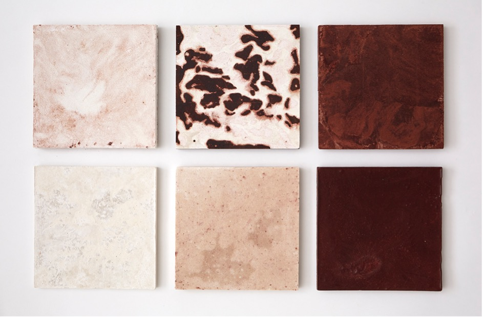 Six square tiles featuring various textures and colours