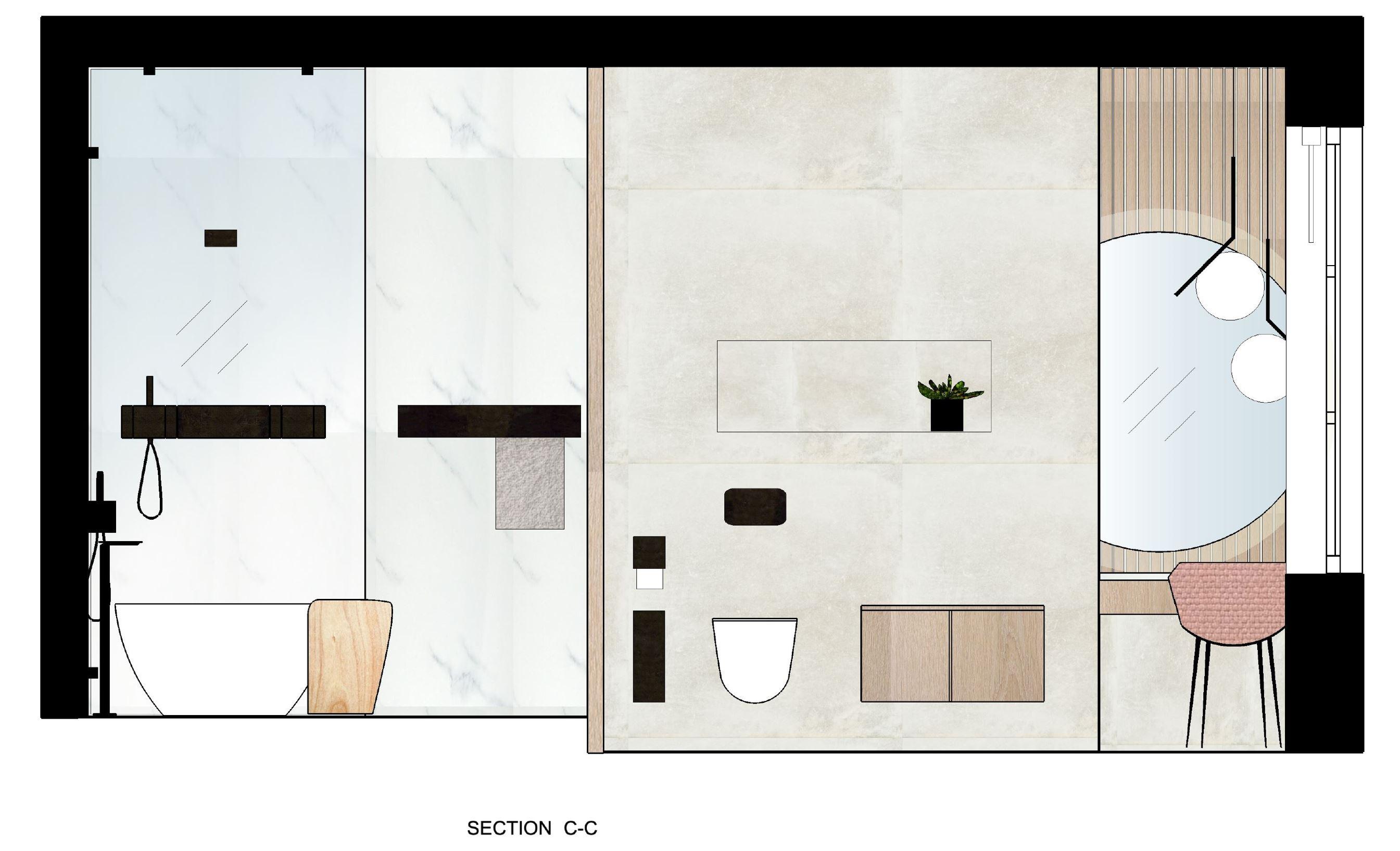 Triinu Oll's floorplan designs for a bathroom space