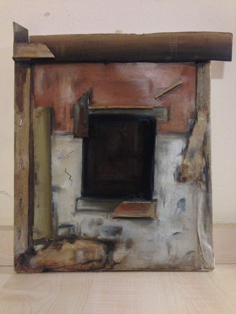Work from Laura Batt - Canvas turned inside out, painted and altered to look like a dilapidated window