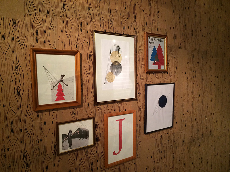 Framed images of Swiss Christmas themed designs at BA Graphic Design Swissmas Christmas Party 2014
