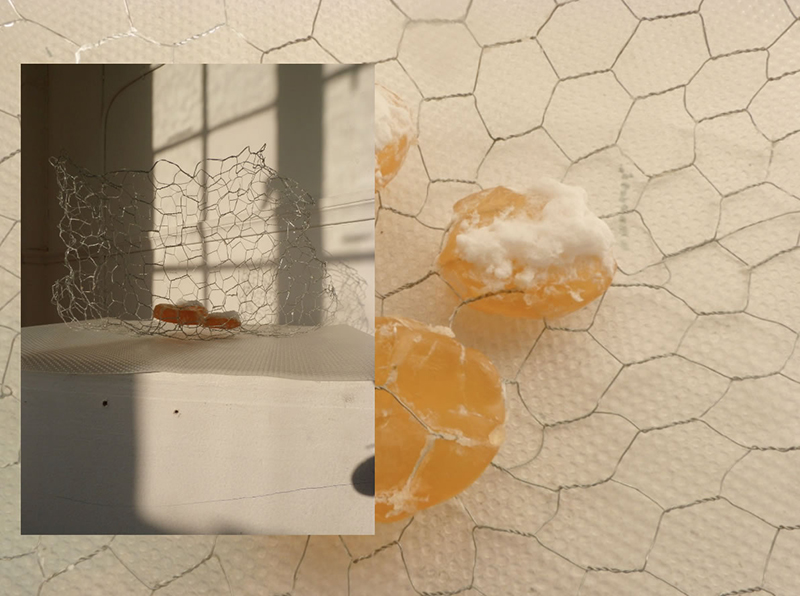 'The matrix that I cannot find but continue to fall under', Lara Kester, soap and chicken wire