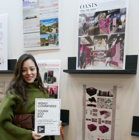 Young Soo Bae at the Retail Design Expo 2016 with her designs which were highly commended at the VM Student Awards