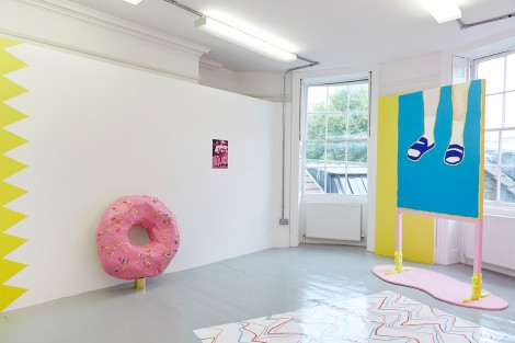 Diet Coke Break, Painting, video and sculpture installation, Dimensions variable, 2015. Image courtesy of Rebecca Molloy.