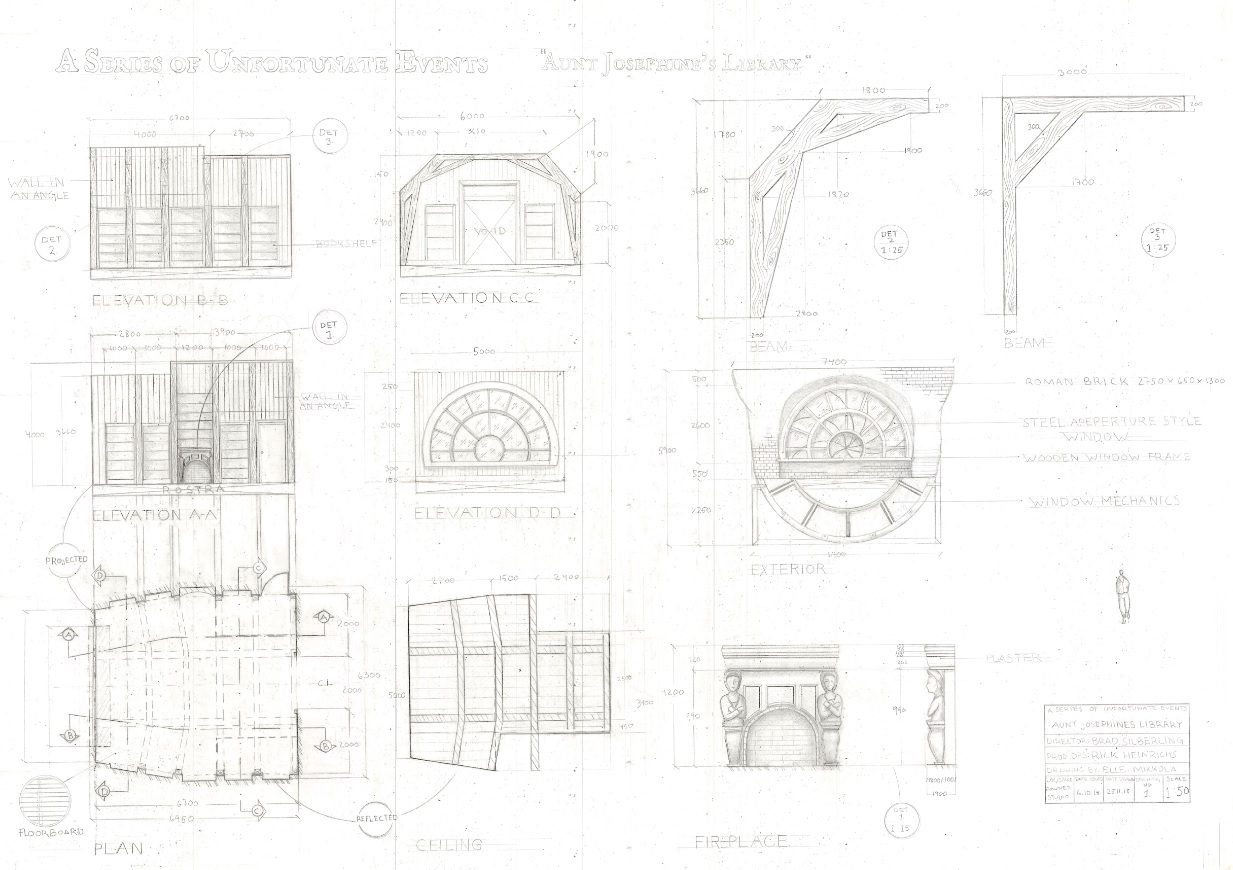Elle's technical drawing for the film 'A Series of Unfortunate Events'