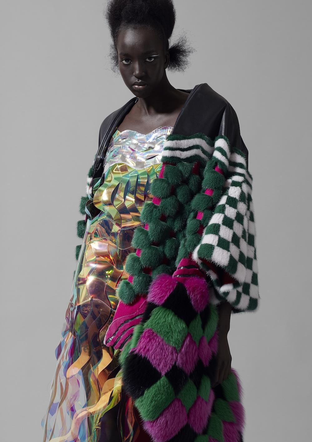 MA Womenswear Design Technology graduate Eren Hayashi. Photographer Alyssa Boni and Stylist Adele Cany.
