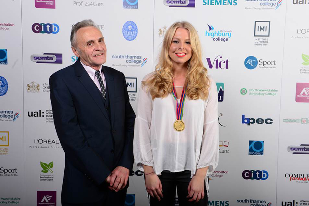 Chloe Wills (student) with Alan Springall (Chairman of British Display Society) who presented the award. Image Credit: WorldSkills
