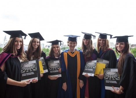 Yasmine, Maria and Michelle with BA (Hons) Fashion Management CMI winners and Ann Bell of the CMI