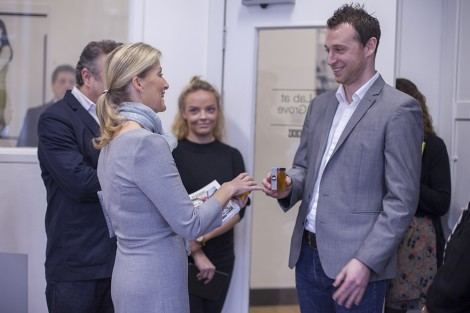 HRH The Countess of Wessex is presented with LCF's Organic Fashion Honey during her Lime Grove visit