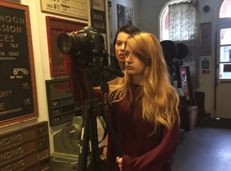 Students filming in the Cinema Museum.