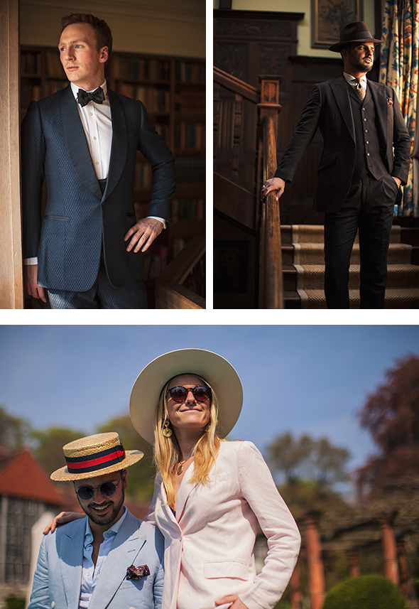 3 images of men and women wearing tailored suits in the English countryside