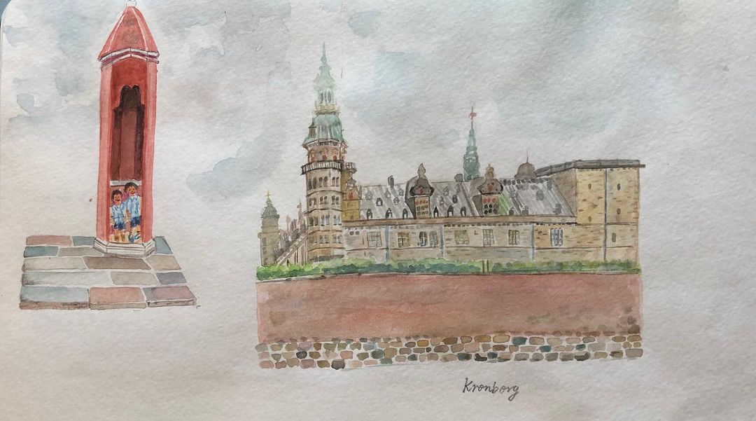An image of two watercolour painting of heritage building done by How Yan Betty Wong