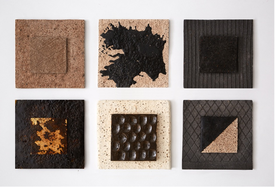 Six square tiles with various textures and patterns
