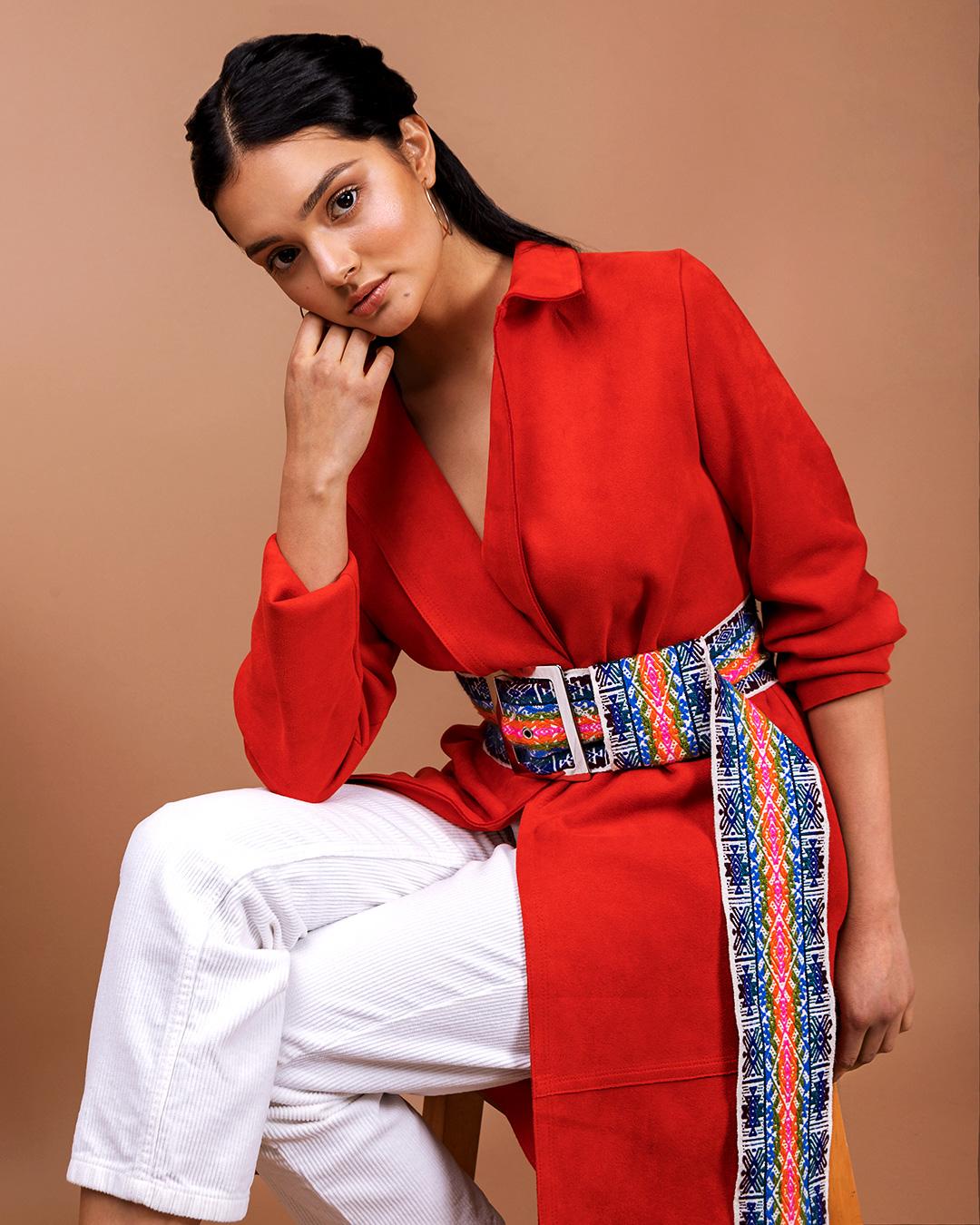 A photo of a model wearing a TAARACHI belt