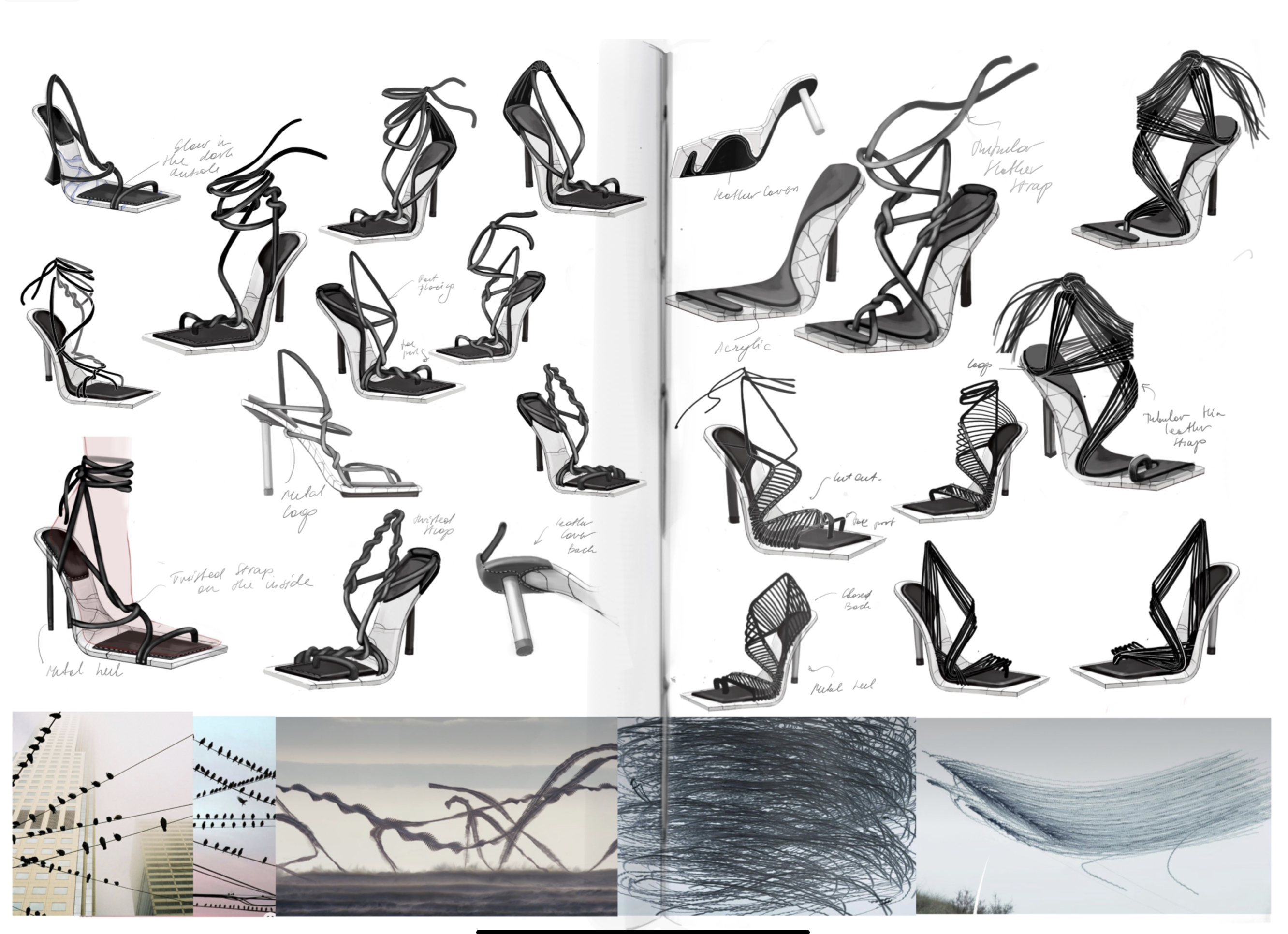 An assortment of heeled boots interspersed with pictures of birds.