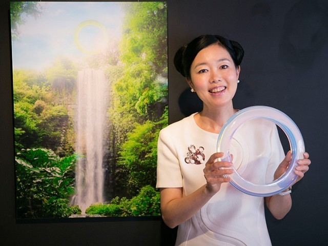The artist and her work. Photo: Courtesy Faou Foundation.