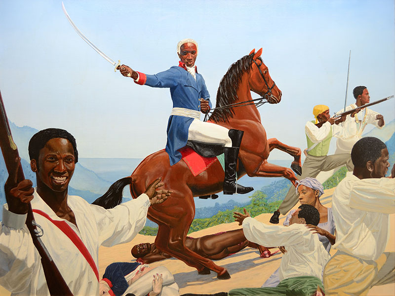 Image of Kimathi Donkor's painting titled Toussaint L'Ouverture at Bedourete. Caption: Kimathi Donkor, 'Toussaint L'Ouverture at Bedourete', oil paints on linen, 136 x 183 cm (2004). Image courtesy of the artist.