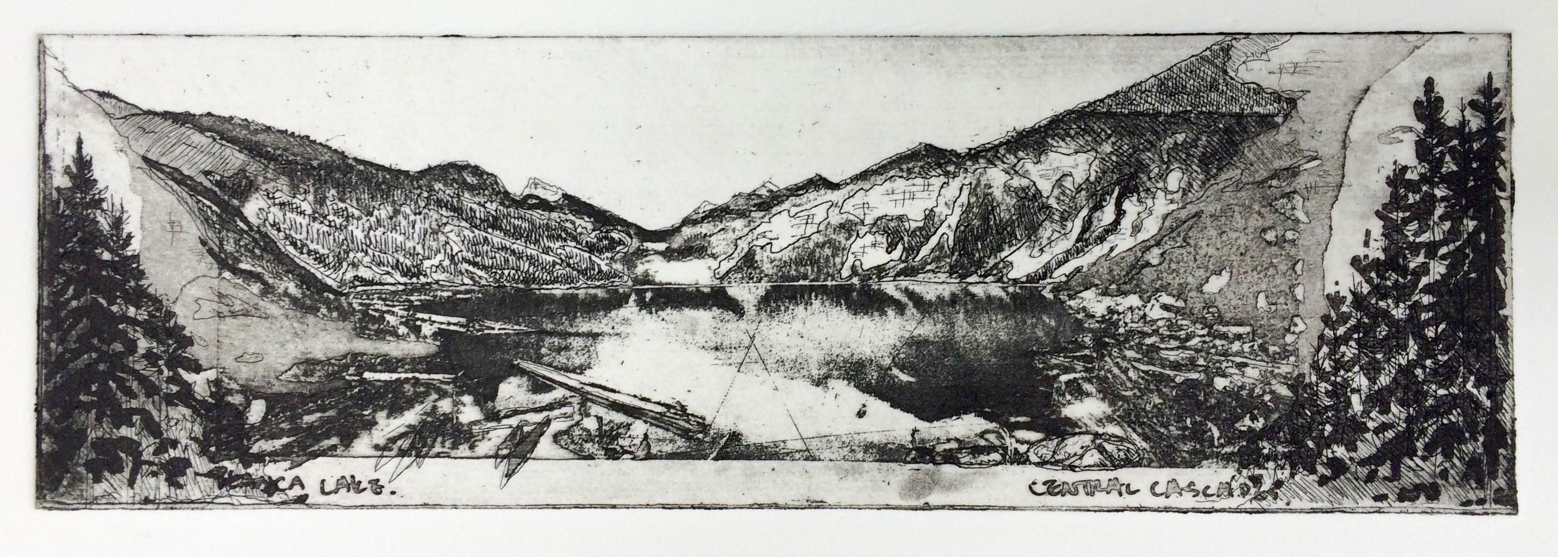 'Blanca' Hardground, aquatint, sugar lift and photo etching. Image size 19.5x6.3cm